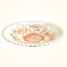 Northwood Fruits and Flowers Custard Glass Nutmeg Stain Basketweave Plate