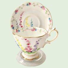 Royal Albert Crown China #2475 Floral Foxglove or Hollyhocks Teacup and Saucer