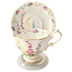 Royal Albert Crown China #2475 Floral Foxglove or Hollyhocks Teacup and Saucer