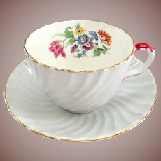 Aynsley Blue Swirl C5479 Bone China Floral Interior Teacup and Saucer