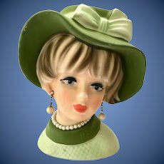 Napcoware C7494 Lady Head Vase Green Floppy Hat with Bow Pearl Necklace and Earrings