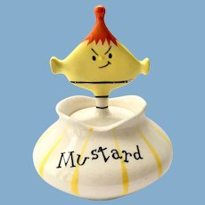 Holt Howard Pixieware Mustard Condiment Jar with Spoofy Spoon Cover