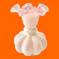 Fenton Peach Crest No.192 8-Inch Double Crimped Ruffled Vase