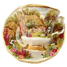 Royal Albert Tranquil Garden Celebration of Old Country Roses Bone China Teacup and Saucer