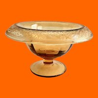 Amber Paneled Optic Depression Glass Pedestal Mayonnaise Bowl Rolled and Etched Rim