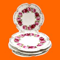 Z.S. & Co Bavaria Marseille Red and Pink Roses Plates c. Early 1900s - Set of Four