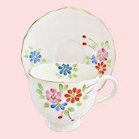 Radford's England #8294 Enameled Flowers Bone China Teacup and Saucer