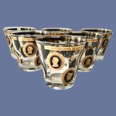 Six MCM Gold and Black Cameos Historical World Leaders Rocks/Old Fashioned Tumblers Marked Forecast