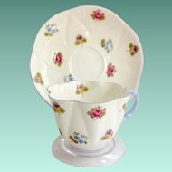 Shelley Bone China Rose Pansy Forget-Me-Not Floral 13424 Blue Handle Dainty Shape Teacup and Saucer