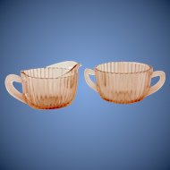 Anchor Hocking Queen Mary Pink Depression Glass Creamer and Sugar