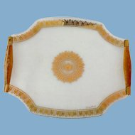 Georges Briard Regalia Gold Mid Century Glass Serving Tray Wooden Handles