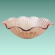 Anchor Hocking Lexington Pink Depression Glass Ruffled Console Bowl