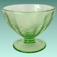 Jeannette Floral Poinsettia Green Depression Glass Sherbet