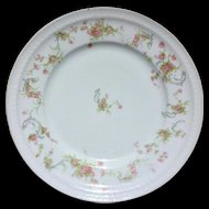 Haviland Limoges France Pink Roses Blue Scrolls Dinner Plate Schleiger 57