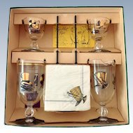 Libbey Glass Top Hat Mid Century Cocktail Set for Two in Original Box