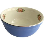 Hall China Royal Rose Cadet Blue and White 7-1/2 Inch Medium Mixing Bowl
