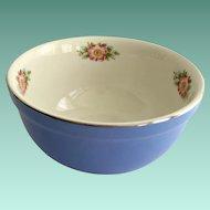 Hall China Royal Rose Cadet Blue and White 7-1/2 Inch Medium Mixing Bowl