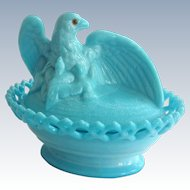 Westmoreland Blue Milk Glass Eagle on Basket with Amber Glass Eyes