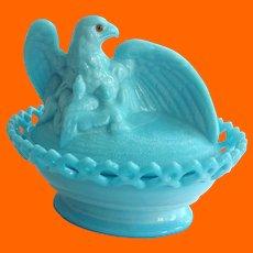 Westmoreland Blue Milk Glass Eagle on Basket with Amber Glass Eyes