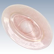 Cambridge Pink Elegant Glass Oval Cheese and Cracker Tray with Center Ring Etch 725