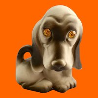 Roselane California Pottery Sparkle Eyes Basset Hound Dog Figurine