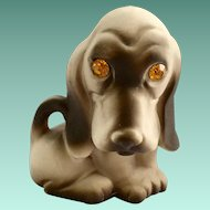 Roselane California Pottery Sparkle Eyes Basset Hound Dog Figurine