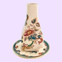Mason's England Java Ironstone Bud Vase and Underplate 22Karat Gold Decorated