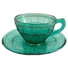 Doric and Pansy Ultramarine Depression Glass Teal Cup and Saucer by Jeannette