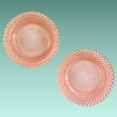 Miss America Pink Depression Glass Sherbet Plates by Hocking Set of Two