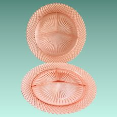 Miss America Pink Depression Glass Grill Plates by Hocking