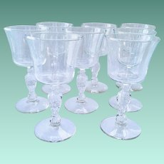 Liberty Bell Eagle Stem Crystal Glass Wine Goblets by Libbey Set of Eight