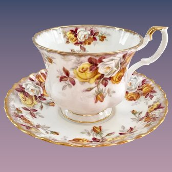 Royal Albert Lenora Bone China Teacup and Saucer Decorated with Autumn Roses