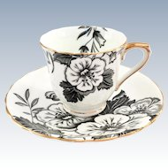 Victoria Azalea Black and White Bone China Demitasse Cup and Saucer Cartwright and Edwards