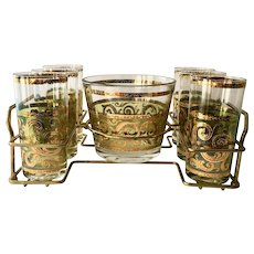Culver Glass 22K-Gold on Green Toledo Mid-Century Barware Set Tumblers and Ice Tub