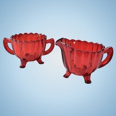 Imperial Pillar Flute Ruby Red Glass Footed Creamer and Open Sugar