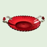 Pillar Flute Ruby Red Elegant Glass Bowl Metal Frame Bakelite Accents 1930s Imperial