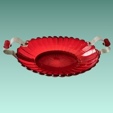 Pillar Flute Ruby Red Elegant Glass Bowl Metal Frame Bakelite Accents 1930s Imperial