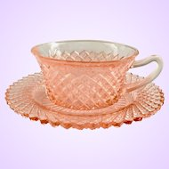 Miss America Pink Depression Glass Cup and Saucer by Hocking