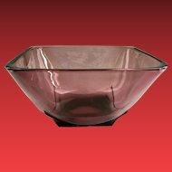Moroccan Amethyst Mid-Century Square Glass Bowl by Hazel Atlas
