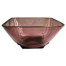 Moroccan Amethyst Mid-Century Square Glass Bowl by Hazel Atlas