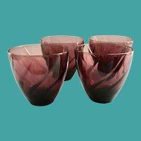 Hazel Atlas Moroccan Amethyst Swirl 12-Ounce Tumblers- Set of Four