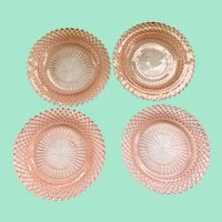 Miss America Pink Depression Glass Saucers by Hocking Set of Four