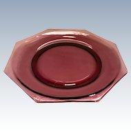 Moroccan Amethyst Mid-Century Octagonal Glass Dinner Plate by Hazel Atlas - no raised ridge