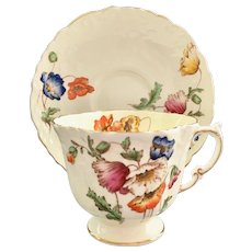 Aynsley Poppies C1054L Fluted Bone China Teacup and Saucer
