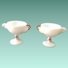 Westmoreland Milk Glass Cold Painted Rooster Cocktail Cups Set of Two