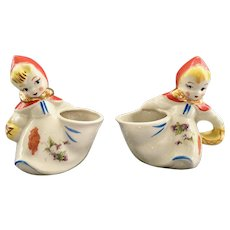 Hull Pottery Little Red Riding Hood Side Pouring Creamer and Sugar
