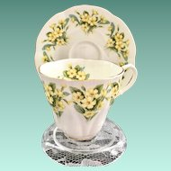 Royal Albert Bone China Dainty Dina Series Prudence Yellow Primrose Demitasse Cup and Saucer