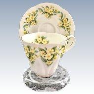 Royal Albert Bone China Dainty Dina Series Prudence Yellow Primrose Demitasse Cup and Saucer