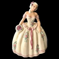 S-Quire Ceramics by Zaida Figurine Lady in White Gown 1940s California Pottery