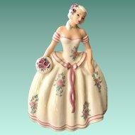 S-Quire Ceramics by Zaida Figurine Lady in White Gown 1940s California Pottery